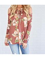 abordables -Tee-shirt Femme, Fleur Coton