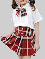 cheap -Girls' Daily School Plaid Clothing Set, Rayon Summer Short Sleeves Casual Street chic White