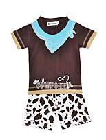 Недорогие -Универсальные Набор одежды Повседневные Спорт Хлопок С животными принтами Лето С короткими рукавами На каждый день Коричневый