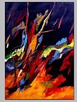 Недорогие -Ручная роспись Абстракция Вертикальная, Современный холст Hang-роспись маслом Украшение дома 1 панель