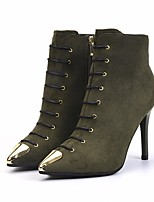 cheap -Women's Shoes Nubuck leather Fall Winter Bootie Comfort Boots Stiletto Heel Booties/Ankle Boots for Casual Black Army Green Red