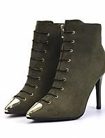 baratos -Mulheres Sapatos Pele Nobuck Outono Inverno Curta/Ankle Conforto Botas Salto Agulha Botas Curtas / Ankle para Casual Preto Verde Tropa