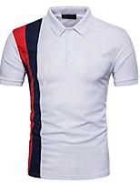 cheap -Men's Active Cotton Polo - Color Block, Basic Patchwork Shirt Collar