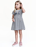 cheap -Girl's Daily Going out Solid Striped Dress, Cotton Spring Summer Short Sleeves Casual Active White