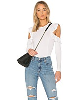 cheap -Women's Going out Slim T-shirt - Solid Colored Ruffle Off Shoulder