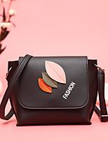 Недорогие -Жен. Мешки PU Сумка Аппликации / Молнии Цветочный принт Темно-зеленый / Коричневый / Темно-коричневый