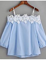 preiswerte -Damen Einfarbig-Street Schick Hemd,Bateau