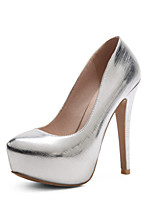 preiswerte -Damen Schuhe PU Lackleder Frühling Sommer Pumps Hochzeit Schuhe Stöckelabsatz Runde Zehe für Hochzeit Party & Festivität Gold Silber Rot