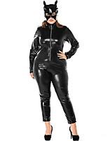 cheap -Cosplay Costume Zentai Cosplay Costumes Black Solid Colored Leotard / Onesie Spandex Lycra® Men's Women's Christmas Halloween Carnival