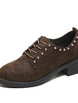 abordables -Femme Chaussures Polyuréthane Printemps Automne Confort Oxfords Talon Plat pour De plein air Noir Café