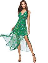 baratos -Mulheres Praia Boho Delgado Chifon balanço Vestido - Fenda Estampado, Floral Com Alças Cintura Alta Longo