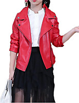 cheap -Girls' Boys' Daily Sports Solid Print Jacket & Coat, Polyester Spring Fall Long Sleeves Casual Punk & Gothic Black Red