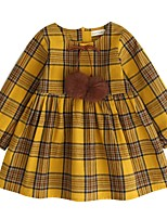cheap -Girl's Daily Going out Solid Striped Houndstooth Check Dress, Cotton Spring Summer Long Sleeves Vintage Cute Yellow