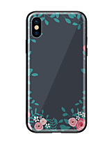 baratos -Capinha Para Apple iPhone X iPhone 8 Estampada Capa traseira Flor Rígida Vidro Temperado para iPhone X iPhone 8 Plus iPhone 8 iPhone 7