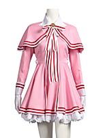 baratos -Inspirado por Cardcaptor Sakura Sakura Anime Fantasias de Cosplay Ternos de Cosplay Vestidos Outro Manga Longa Vestido Xale Luvas Chapéu