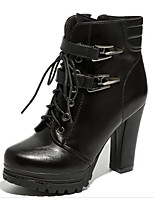cheap -Women's Shoes PU Fall Winter Combat Boots Comfort Boots Chunky Heel Mid-Calf Boots for Casual Black