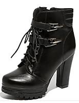 abordables -Femme Chaussures Polyuréthane Automne Hiver boîtes de Combat Confort Bottes Talon Bottier Bottes Mi-mollet pour Décontracté Noir