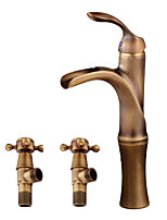 cheap -Contemporary Centerset Waterfall Ceramic Valve Single Handle One Hole Antique Copper, Faucet Set
