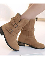 cheap -Women's Shoes Nubuck leather Spring Fall Combat Boots Comfort Boots Chunky Heel Booties/Ankle Boots for Casual Black Gray Camel