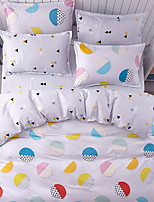 cheap -Geometric Pattern 3 Piece Poly/Cotton Reactive Print Poly/Cotton 1pc Duvet Cover 1pc Sham 1pc Flat Sheet