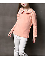 cheap -Girls' Daily School Solid Tee, Cotton Spring Summer Long Sleeves Simple Casual Blushing Pink