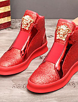 cheap -Men's Shoes Cowhide Winter Bootie Boots Booties/Ankle Boots Sequin for Casual Gold Black Red