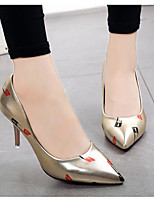 cheap -Women's Shoes PU Spring Fall Basic Pump Comfort Heels Stiletto Heel for Casual Gold Black Silver