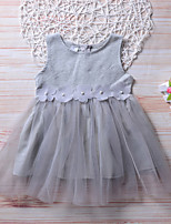 cheap -Girl's Going out Holiday Solid Floral Dress, Cotton Rayon Spring Summer Sleeveless Cute Active Gray