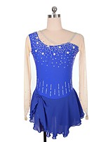 abordables -Robe de Patinage Artistique Femme Fille Patinage Robes Bleu royal strenchy Professionnel Tenue de Patinage Strass Paillette Manches