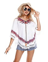 cheap -Women's Holiday Street chic Boho Plus Size Batwing Sleeve Loose T-shirt - Floral, Tassel V Neck