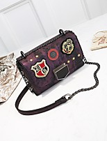 cheap -Women's Bags PU Shoulder Bag Appliques / Zipper for Casual Green / Purple / Dark Grey