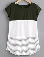cheap -Women's Daily Simple Summer T-shirt Round Neck Short Sleeves Polyester