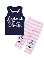 cheap -Girls' Daily Print Clothing Set, Cotton Polyester Summer Sleeveless Cute Active Navy Blue