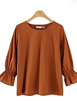 cheap -Women's Basic Street chic Plus Size Shirt - Solid Colored