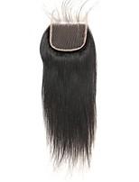 Недорогие -Laflare Бразильские волосы Прямой силуэт 4x4 Закрытие С детскими волосами Уток Швейцарское кружево Натуральные волосы Реми Бесплатный