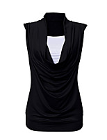 cheap -Women's Vintage Batwing Sleeve Cotton Slim Tank Top - Solid Colored, Pleated
