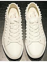 Недорогие -Муж. обувь Кожа Весна Осень Удобная обувь Кеды для Повседневные Белый Черный