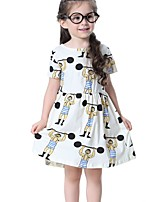 cheap -Girl's Daily Geometric Dress, Cotton Summer Half Sleeves Cute White