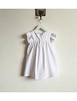 Недорогие -Девичий Платье Повседневные Хлопок Однотонный Лето С короткими рукавами Простой Активный Белый Пурпурный