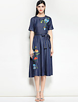cheap -TS - JOJO HANS Women's Vintage Denim Dress - Floral Basic Print