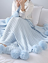 baratos -Velocino de Coral, Acolchoado Sólido Algodão / Poliéster Poliéster cobertores