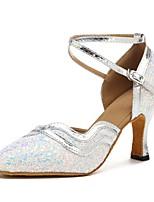 cheap -Women's Modern Sparkling Glitter Leatherette Sandal Heel Professional Customized Heel White Customizable