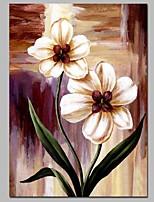 Недорогие -Ручная роспись Цветочные мотивы/ботанический Вертикальная, Классика холст Hang-роспись маслом Украшение дома 1 панель