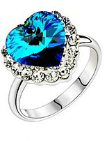 cheap -Women's Band Ring Blue Gold Plated Heart Sweet Party Birthday Valentine Costume Jewelry