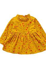 Недорогие -Девичий Платье Хлопок Однотонный Весна Лето Длинный рукав Очаровательный На каждый день Розовый Желтый Светло-голубой