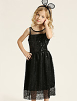 cheap -Girl's Daily Going out Solid Colored Dress, Cotton Polyester Spring Summer Sleeveless Cute Active Black