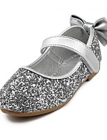 cheap -Girls' Shoes Sparkling Glitter Leatherette Spring Fall Flower Girl Shoes Comfort Flats Bowknot Magic Tape for Wedding Dress Gold Silver