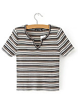 cheap -Women's Simple T-shirt - Striped