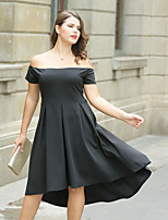 cheap -Women's Plus Size A Line Little Black Skater Dress - Solid, Ruched High Waist Asymmetrical Off Shoulder