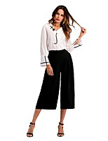 cheap -Women's Loose Blouse - Solid Shirt Collar